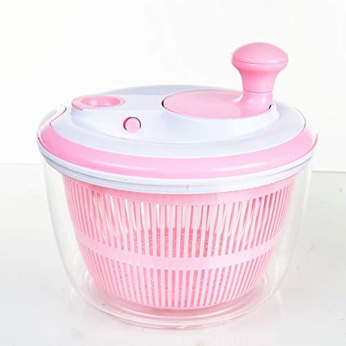 Salatschleuder mit großem [5L] Fassungsvermögen, Optimaler Salattrockner mit Ablaufsieb, Einfaches Bedienen durch Drehen der Kurbel,Rosa