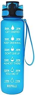 32oz Blue Leak Proof Sports Water Bottle with Time Markings