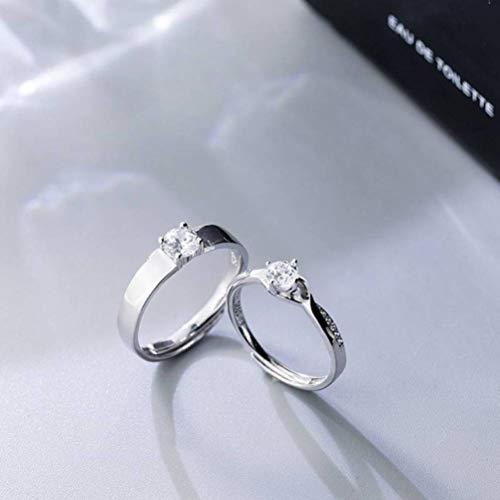 WOZUIMEI S925 Anillo de Pareja de Plata Estilo Coreano Moda Simple Diamante Único Temperamento Personalidad Apertura Cruzada Anillo de ParejaUn par, ajustable