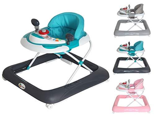 Clamaro 'BABYRACER' Baby Gehfrei (hellblau) - Höhenverstellbare Lauflernhilfe mit extra hoher Rückenlehne und bequemen Polstern, extra Spielcenter mit Musik