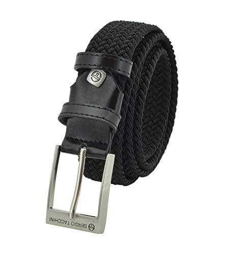Sergio Tacchini Cinturón trenzado, de Hombre y Mujer, tejido elástico y cuero genuino, caja de regalo Negro 125