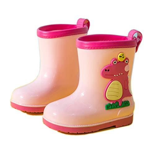 Botas De Agua Niños Diseño de Animal Niñas Antideslizante Rain Boots Cómodo Impermeable EVA Caucho Botas Para Lluvia Rosa-1 Talla 31-32