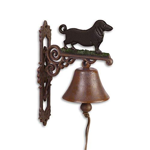 Moritz Gußeisen Wandglocke Dackel Hund Glocke Türglocke 33 cm Höhe Hausglocke antik Stil braun Klingel Verziert