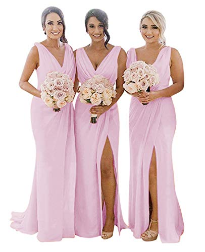 Bridesmaid Dresses Pleated Chiffon Split V-Neck Long Formal Gown for Beach Wedding Pink 8 (Apparel)