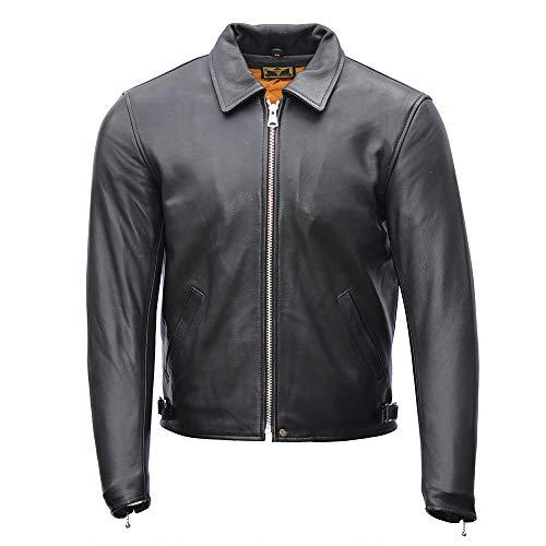 Goldtop 1958 - Chaqueta de piel para motocicleta, color negro   blindada con armadura extraíble CE Knox Microlock (44 pulgadas)