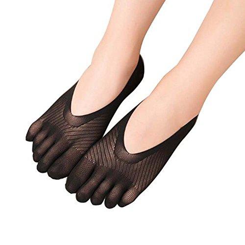 Black Temptation Frauen Low Cut Thin Five Fingers Knöchel Socken 4-Pack, A 9