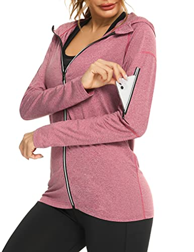 Sykooria Chaqueta Deportiva Mujer de Manga Larga con Capucha Sudadera Cremallera Mujer para Running Gym Fitness,Rosa,XL