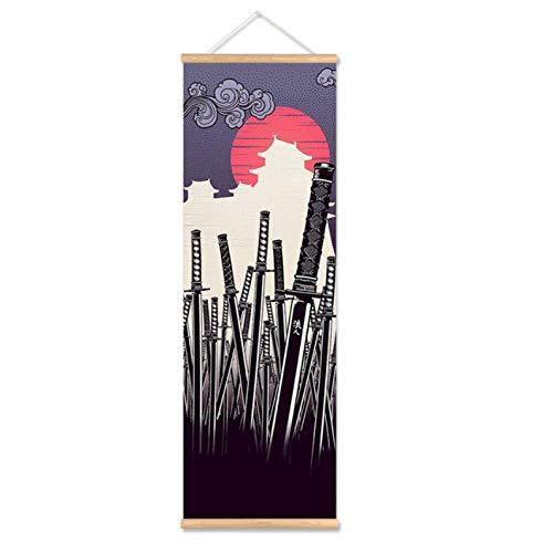 zeo Qi Lin Zou zubehör Druckplakat Wandkunst Wohnzimmer Japanischen Samurai Rollbild Leinwand Schlafzimmer Dekoration / 30x120 cm kein Rahmen