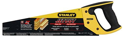 Stanley JetCut Handsäge (fein, 380 mm Länge, 11 Zähne/Inch, Bi-Material, Hardpoint-Verzahnung, 45°/90°-Anschlag) 2-15-594