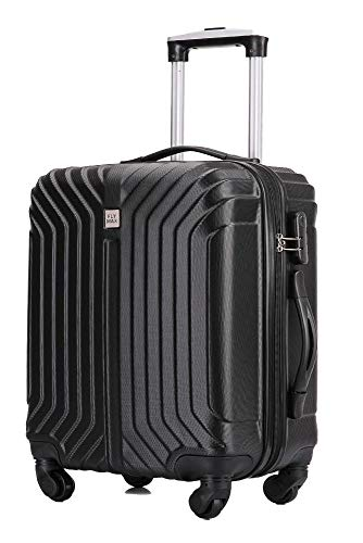Flymax 55x35x20 4 Wheel Super Lightweight Cabin Luggage Suitcase Hand Carry on Flight Travel Bags Approved On Board Fits Flybe Easyjet Ryanair Jet 2 BA Black