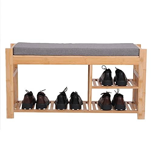 MPGIO Zapatero de Madera Taburete de bambú para Zapatos con cojín, Banco de Entrada de Tres Capas con Zapatero, Taburete para Zapatos con Estante de Almacenamiento en el Dormitorio y el baño