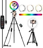 10'' RGB Aro De Luz con Tripode, COOLHOOD Ring Light con Control Bluetooth, TríPode Resistente Ajustable Anillo de Luz, 18 RGB y 3 Colores Normales, Luz Movil Aro para TIK Tok/Youtube/Selfie/Makeup