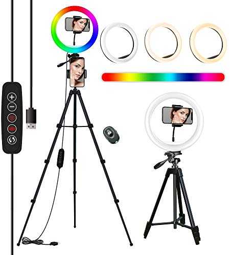 10'' RGB Aro De Luz con Tripode, COOLHOOD Ring Light con Control Bluetooth, TríPode Resistente Ajustable Anillo de Luz, 18 RGB y 3 Colores Normales, Luz Movil Aro para TIK Tok/Youtube/Selfie/Makeup