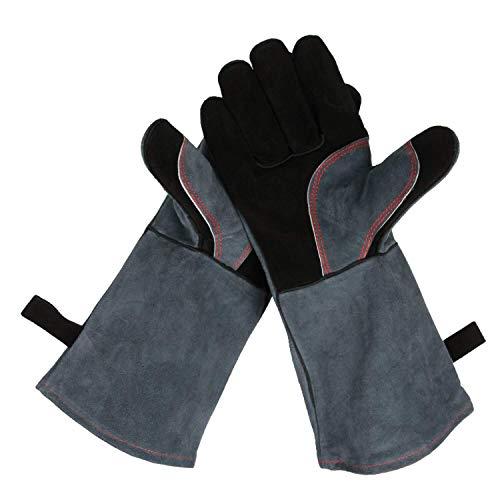 OZERO Aufwärmen BBQ Handschuhe, 500° C Hitzebeständiger Leder Grillhandschuh-Schwarz-grau(35.5CM)