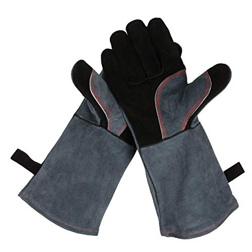 OZERO 932°F Heat Resistant Grill BBQ Gloves Leather Forge Welding Glove with Long Sleeve for Men and Women Black-Gray 16-inch