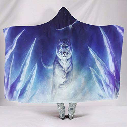 WellWellWell Manta cálida con capucha para hombres y mujeres, diseño de tigre y búho, color blanco, 130 x 150 cm