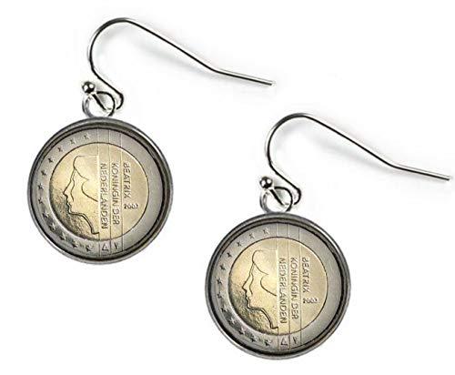 Xubu Vintage Coin Oordruppel Dangles, Nederlands 2 Euro Omgekeerde zilveren munt oordruppel, Geschenken voor muntverzamelaars