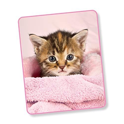 Good Morning! Wohndecke Kuscheldecke 6143 Sweety Pink Katzenbaby 130 cm x 160 cm