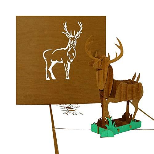 """Pop Up Karte """"Hirsch – Waidmannsheil"""" - 3D Geburtstagskarte & Einladungskarte mit Umschlag & Hirsch Motiv - als Geschenk, Gutschein und Einladung zum Wandern, zur Jagd für Jäger & Förster"""