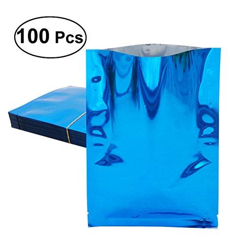 BESTOMZ Alubeutel 100 Stück Vakuumbeutel Verpackung für Lebensmittel 12 x 18CM (Blau)
