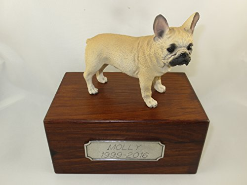 Beautiful Paulownia Small Wooden Urn with Fawn French Bulldog Figurine & Personalized Pewter Engraving