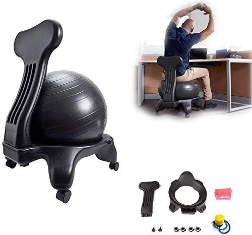 XIAOWANG Balance Position Chaise à roulettes,Balance Ballstuhl/Ballstuhl/Fitness Ball Stuhl, mit Rollen Robuster Sitzball, mit Yoga-Ball,für einen gesunden Rücken Chair Büro und Zuhause