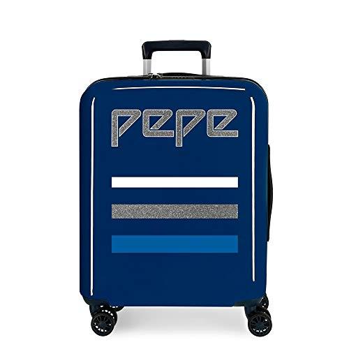 Pepe Jeans Taking off Maleta de cabina Azul 38x55x20 cms Rígida ABS Cierre TSA 38.4L 2,9Kgs 4 Ruedas dobles Equipaje de Mano