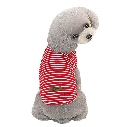 Poseca Camisas de Perro Cachorro a Rayas t Shirts Pequeño Perro Ropa Mascota Gato Chaleco Ropa Verano Perro Camisas Ropa para Perros pequeños Muchacha Muchacha