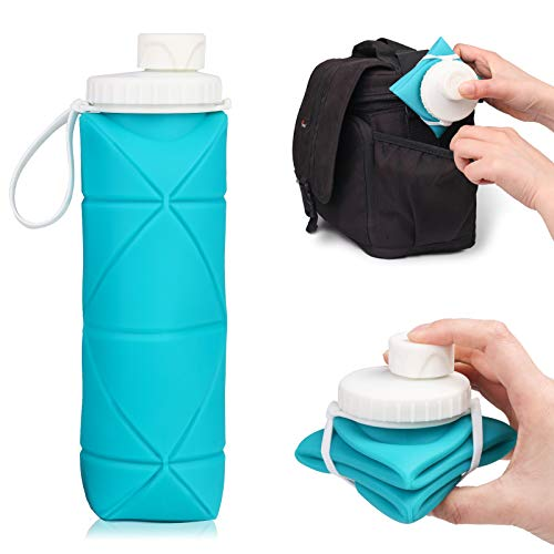 HUIHUIBI Collapsible Water Bottle, BPA Free – Portable Leak Proof Silicon Water Bottle Perfect for Travelling, Camping and Hiking