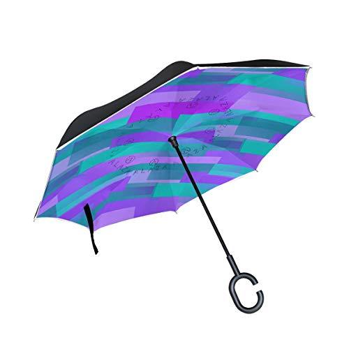 para el Coche Paraguas al Aire Libre Paraguas del Patio Raya a Prueba de Viento Púrpura Azul Pared del Piso con Mango en Forma de C Dulce Paraguas inverso