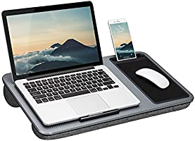LapGear Home Office Lap Desk with Device Ledge, Mouse Pad, and Phone Holder - Silver Carbon - Fits Up to 15.6 Inch...