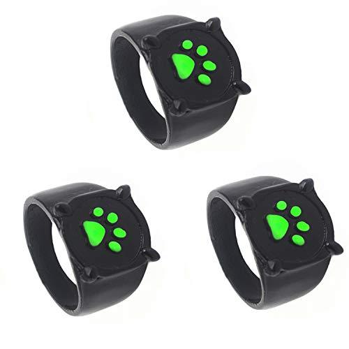 YTYC 3 Stück Schwarze Katze Erwachsener Ring Anime Cosplay Fingerring ? Grüne Schwarze Katze Pfote Druck Ring Mode Schwarze Legierung Ring ? Halloween Prop Ring (8)