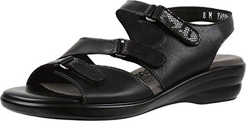 SAS Women's Flat Sandals, Black, 8.5 X-Wide