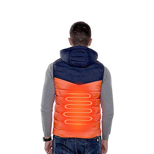 Bloeding intelligent vest voor heren, met USB-capuchon, warme mouwloze verwarmingskleding, wasbaar in de winter, heat up garment, voor buiten, golf, cadeau voor camping, jacht Large oranje