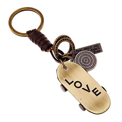 Boowhol - Llavero creativo para hombres y mujeres, regalo pequeño, aleación, bronce, Love Roller, vintage, de cuero.