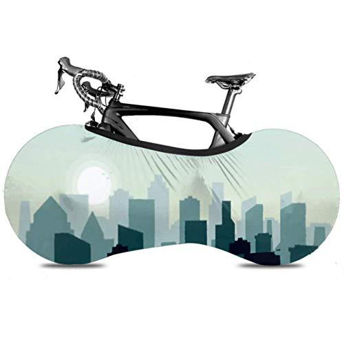 Cubierta de rueda de bicicleta Ciudad Skyline Edificios de estilo plano Silueta Antipolvo Bicicleta Bolsa de almacenamiento interior A prueba de arañazos, Lavable Neumático de alta elasticidad Packag