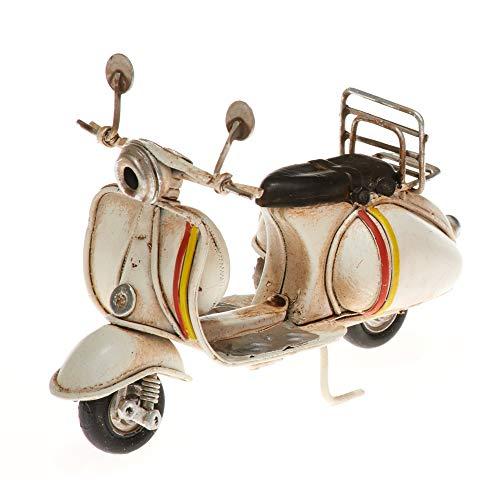 Pamer-Toys Modelo de moto de chapa – estilo vintage retro retro – color blanco