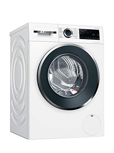 Bosch WNG24440 Serie 6 Waschtrockner / E / 372 kWh/100 Betriebszyklen (Waschen & Trocknen) / 9/6 kg / 1400 UpM / Weiß mit Glastür / AutoDry / Nachlegefunktion /...