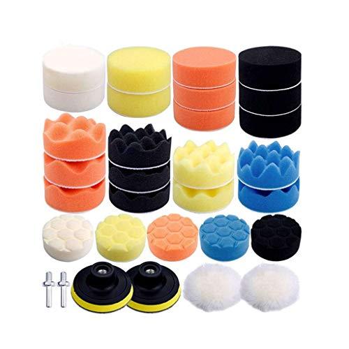 Gesh Almohadillas de pulido de esponja, 3 pulgadas de lana encerado kits de pulido compuesto Auto pulidor M10 taladro (31 piezas)