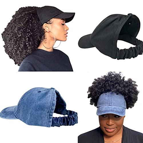 CurlCap Natural Hair Backless Cap – Satin Lined Baseball Hat for Women (Black+Blue Denim)
