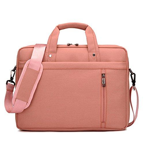 MISSMAO 15-17 Zoll Wasserfeste Multifunktionale Laptop Hülle Notebooktasche Laptoptasche Laptop-Umhängetasche mit Griff und Schulterriemen aus strapazierfähigem Pink