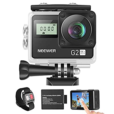 Neewer G2 4K WiFi Sports Action Camera with Touch Screen Ultra HD Waterproof DV Camcorder 12MP 4K/30FPS EIS 170 Degree Wide Angle WiFi Sports Cam with Remote/Battery and Mounting Accessories Kit from Neewer
