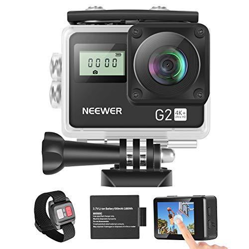 Neewer G2 Ultra HD 4K Fotocamera con Touchscreen: 12MP 4K / 30FPS EIS Telecamera Impermeabile 170°Angolo Ampio WiFi Sport Cam e con Batteria/Remoto e Kit Accessori di Montaggio