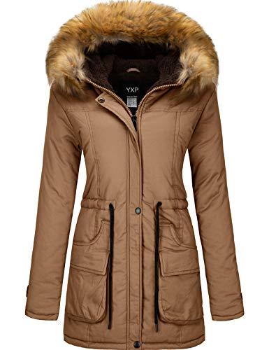 YXP Women's Winter Thicken Military Parka Jacket Warm Fleece Cotton Coat with Fur Hood (Khaki,XL)