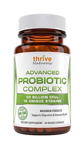 Thrive Naturals Advanced Probiotic Complex - 50 Billion CFU's 16 Unique Strains - Probiotic - Supports Digestive & Immune Health - 30 Capsules - 1 Month Supply
