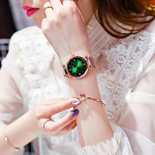 Ladies Analog Quartz Watch Shining Starry Dial Watch With Gittered Rhinestone for Women and Girls
