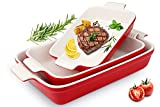 Toptier Ceramic Baking Dish Set, 3-Piece Casserole Dish Set, Rectangular Bakeware Set - Grip Handles for Easy Carry from Hot Oven to Table, Nest for Space-Saving Storage, Red