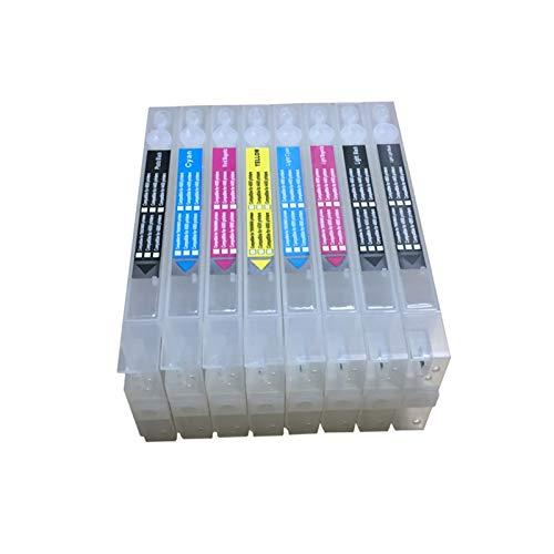 WSCHENG 4880 Cartucho de Impresora de Cartucho Recargable para Epson Stylus Pro 4880 Printer T6061 con Chips y reestador de viruta