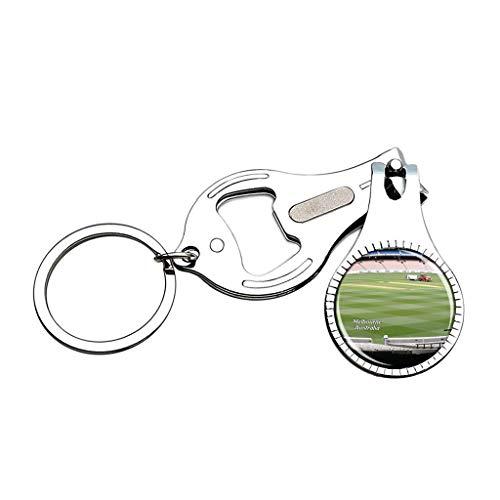 Hqiyaols Keychain Australien Melbourne Cricket Ground Nagelknipser Flaschenöffner Nagelfeile Keychain Kreative Kristall Edelstahl Multifunktions Souvenirs Geschenke