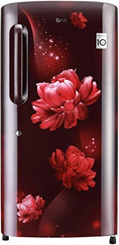[Apply coupon] LG 215 L 4 Star Inverter Direct-Cool Single Door Refrigerator (GL-B221ASCY, Scarlet Charm, Moist 'N' Fresh)